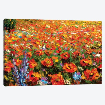 Summer Red Flowers Field 3-Piece Canvas #VRY96} by Valery Rybakow Canvas Art