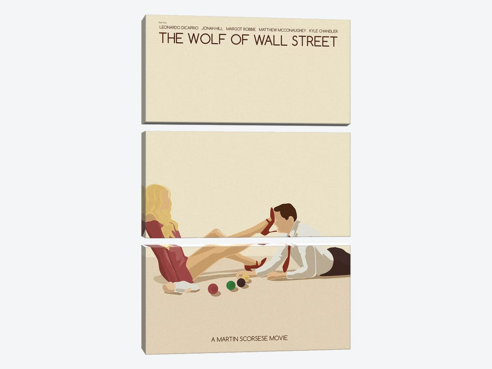 Wolf Of Wall Street by Claudia Varosio 3-piece Canvas Art Print