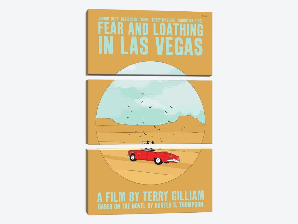 Fear And Loathing In Las Vegas by Claudia Varosio 3-piece Canvas Print