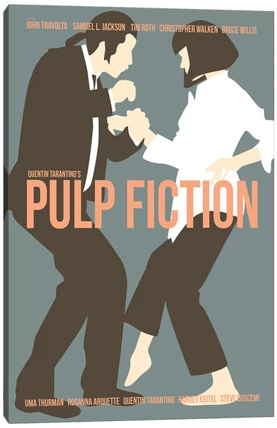 Pulp Fiction - Blue Canvas Art Print