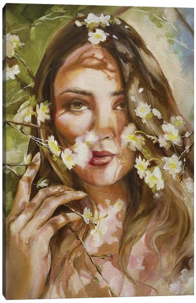 Woman With Flower Canvas Art Print