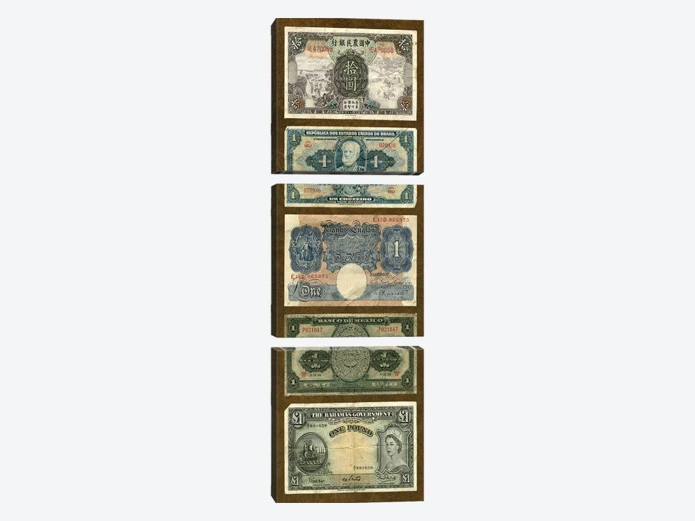 Foreign Currency Panel II by Vision Studio 3-piece Canvas Artwork
