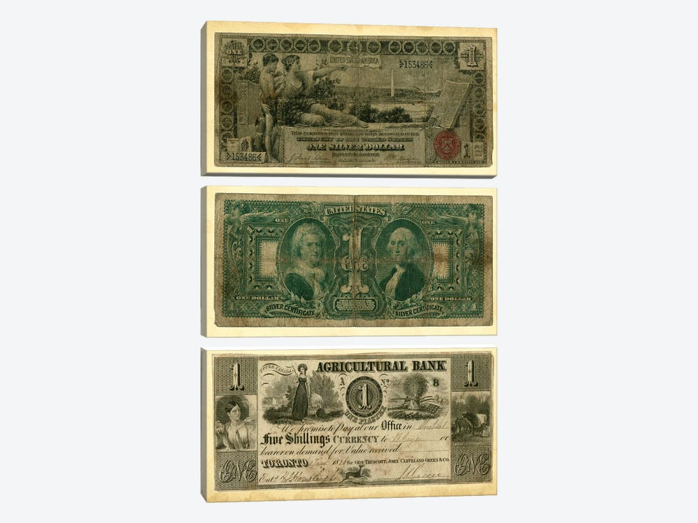 Antique Currency V by Vision Studio 3-piece Canvas Art Print