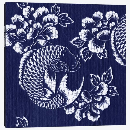 Indigo Carp Katagami I Canvas Print #VSN181} by Vision Studio Art Print