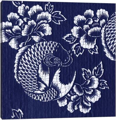 Indigo Carp Katagami I Canvas Art Print