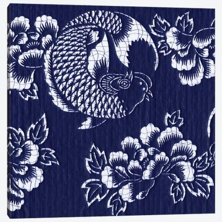 Indigo Carp Katagami II Canvas Print #VSN182} by Vision Studio Art Print