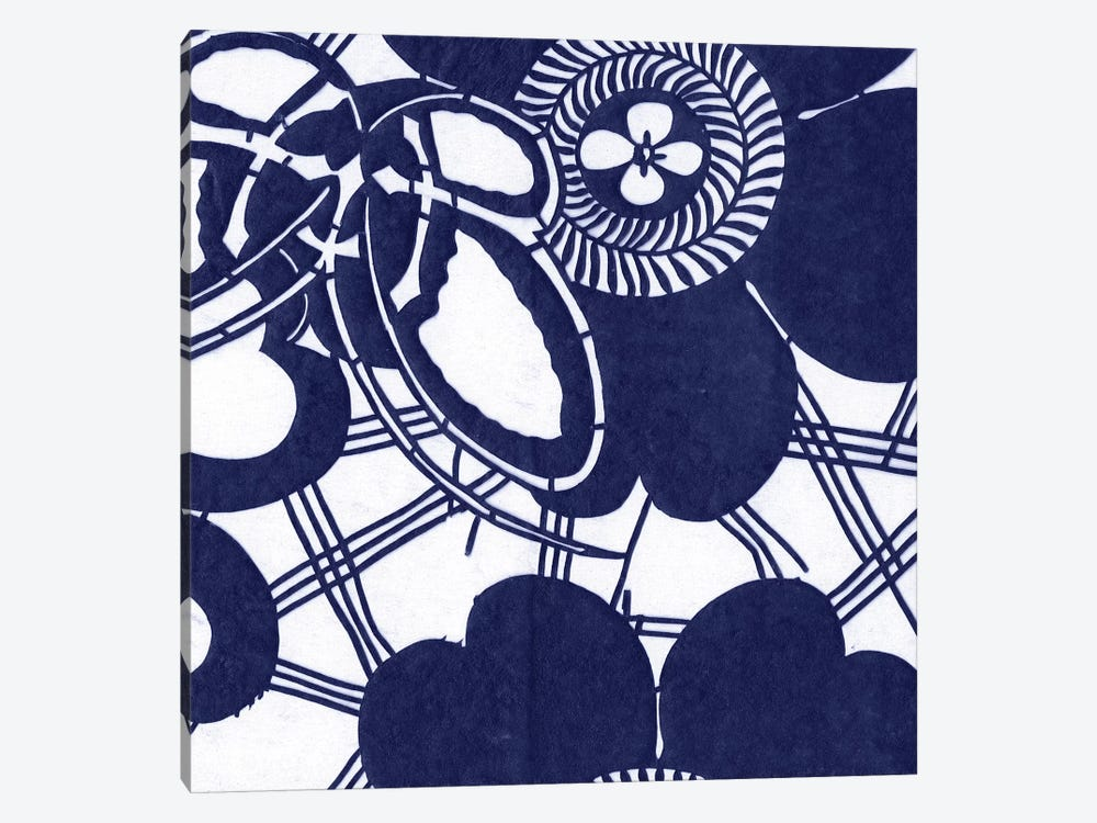 Indigo Floral Katagami III 1-piece Canvas Wall Art