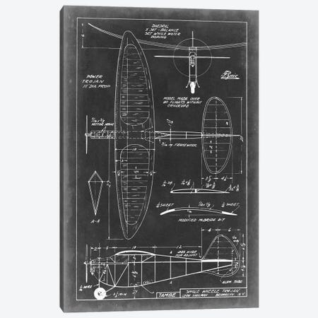 Aeronautic Blueprint I Canvas Print #VSN1} by Vision Studio Canvas Art Print
