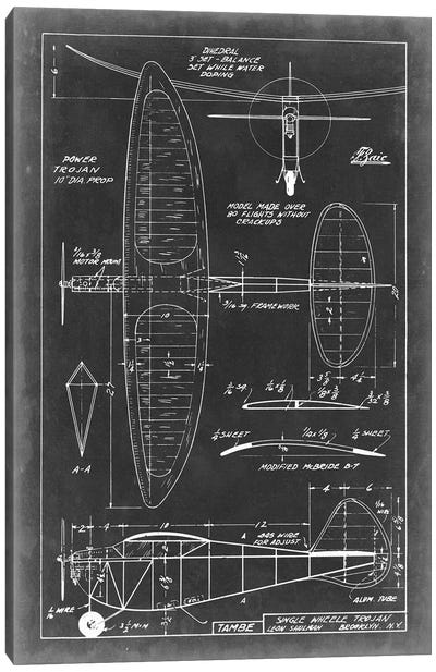 Aeronautic Blueprint I Canvas Art Print