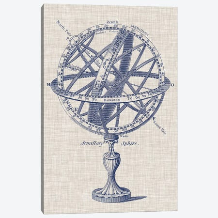 Armillary Sphere on Linen I Canvas Print #VSN236} by Vision Studio Canvas Artwork