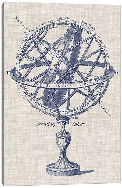 Armillary Sphere on Linen I Canvas Art Print
