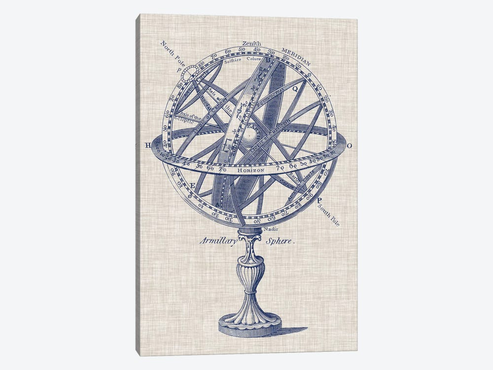 Armillary Sphere on Linen I by Vision Studio 1-piece Art Print