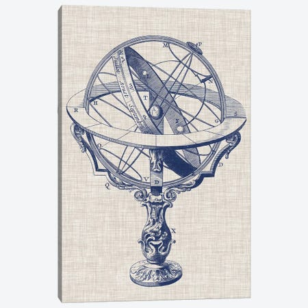 Armillary Sphere on Linen II Canvas Print #VSN237} by Vision Studio Canvas Art