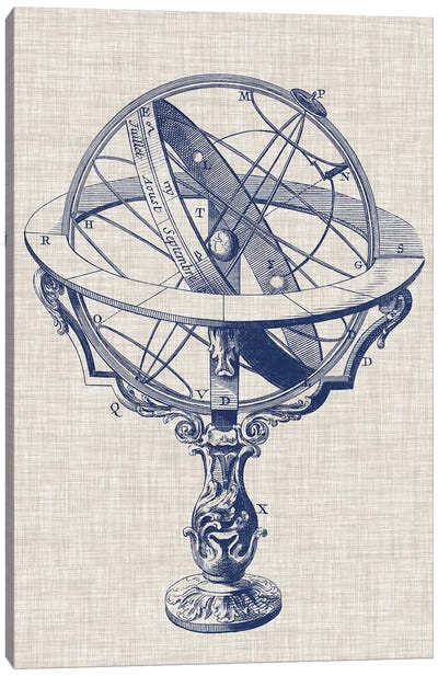 Armillary Sphere on Linen II Canvas Art Print