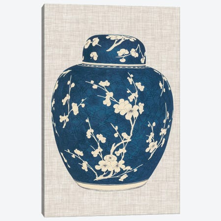 Blue & White Ginger Jar on Linen I Canvas Print #VSN238} by Vision Studio Canvas Art Print