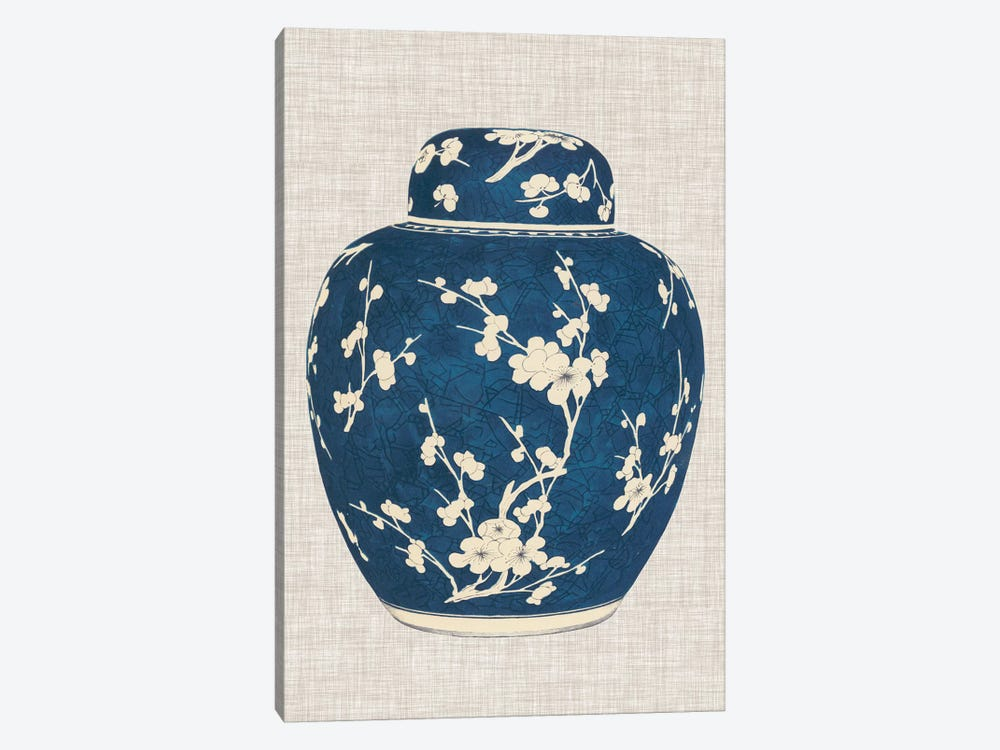 Blue & White Ginger Jar on Linen I by Vision Studio 1-piece Canvas Print