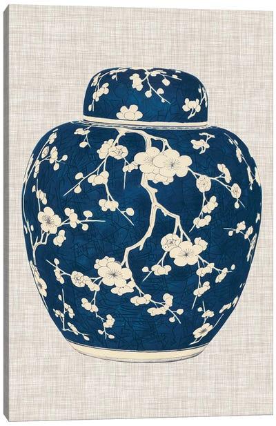 Blue & White Ginger Jar on Linen II Canvas Art Print