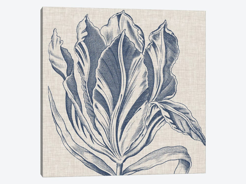 Indigo Floral on Linen I by Vision Studio 1-piece Canvas Artwork