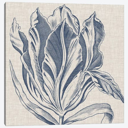 Indigo Floral on Linen I Canvas Print #VSN268} by Vision Studio Canvas Art