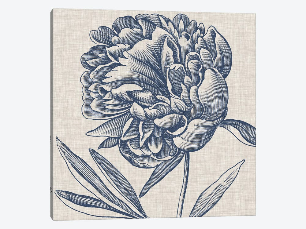 Indigo Floral on Linen II by Vision Studio 1-piece Canvas Art Print