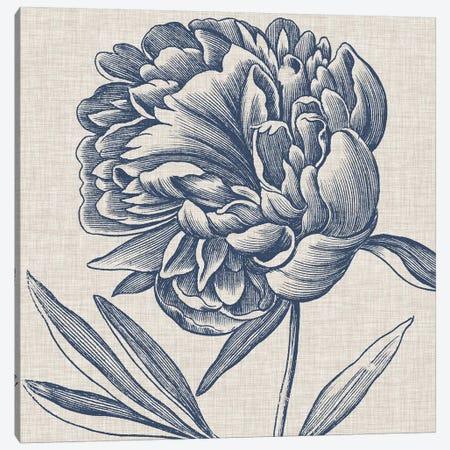 Indigo Floral on Linen II Canvas Print #VSN269} by Vision Studio Canvas Artwork