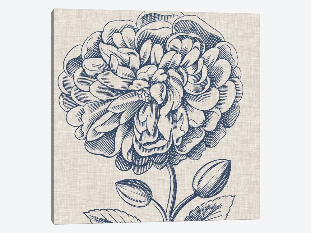 Indigo Floral on Linen III by Vision Studio 1-piece Art Print