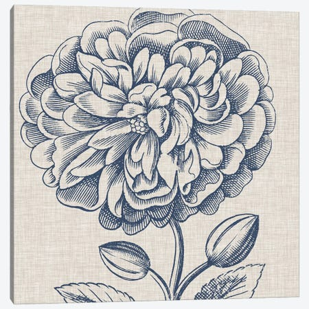 Indigo Floral on Linen III Canvas Print #VSN270} by Vision Studio Art Print