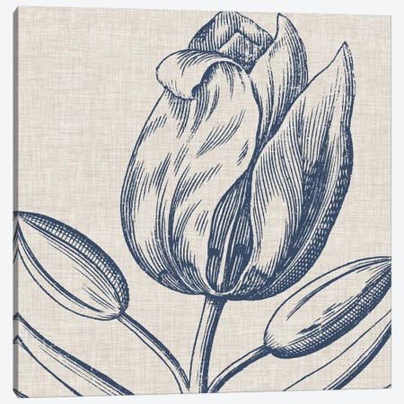 Indigo Floral on Linen IV Canvas Print #VSN271} by Vision Studio Canvas Print