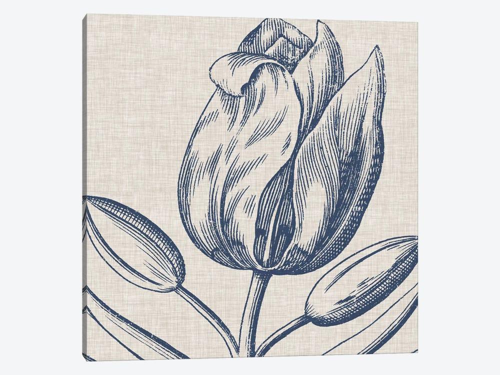 Indigo Floral on Linen IV by Vision Studio 1-piece Canvas Artwork