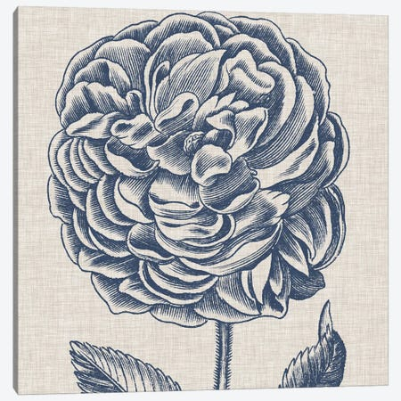 Indigo Floral on Linen V Canvas Print #VSN272} by Vision Studio Art Print