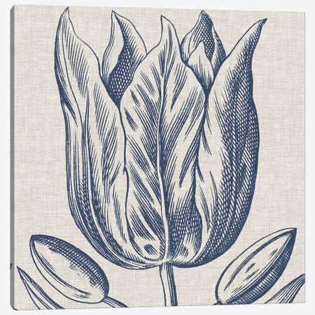 Indigo Floral on Linen VI Canvas Print #VSN273} by Vision Studio Canvas Print