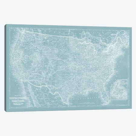 US Map on Aqua Canvas Print #VSN292} by Vision Studio Canvas Print