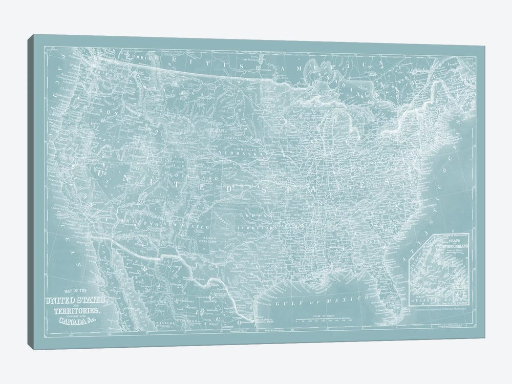US Map on Aqua by Vision Studio 1-piece Canvas Art Print
