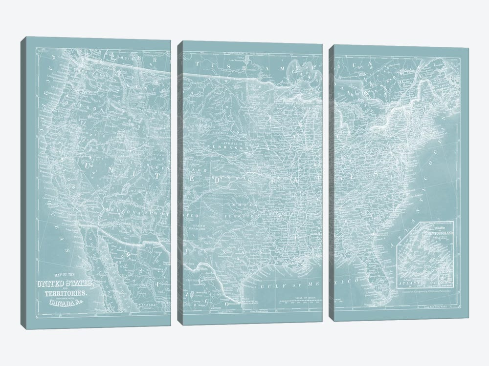 US Map on Aqua by Vision Studio 3-piece Art Print