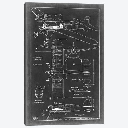 Aeronautic Blueprint II Canvas Print #VSN2} by Vision Studio Art Print