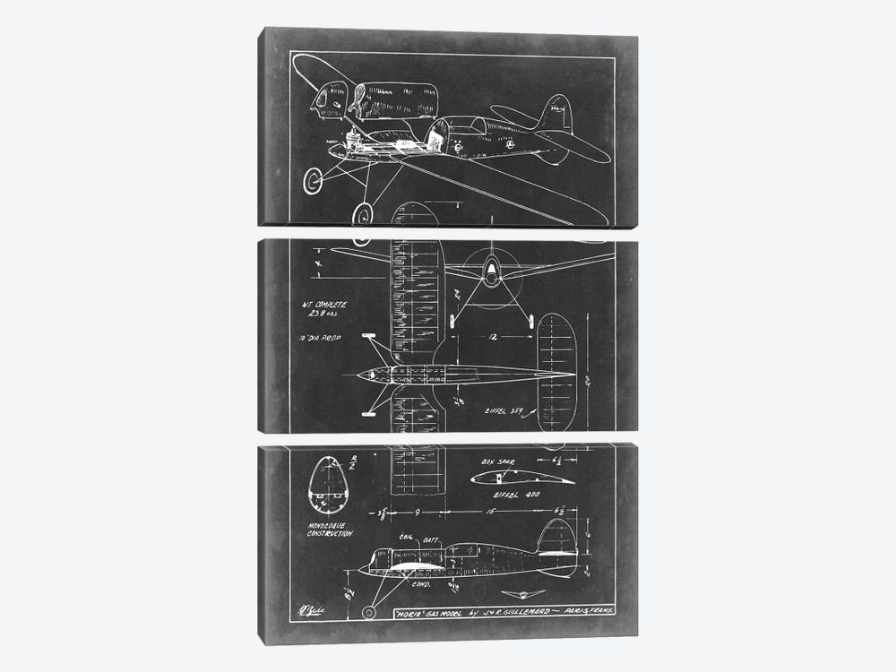 Aeronautic Blueprint II by Vision Studio 3-piece Canvas Wall Art