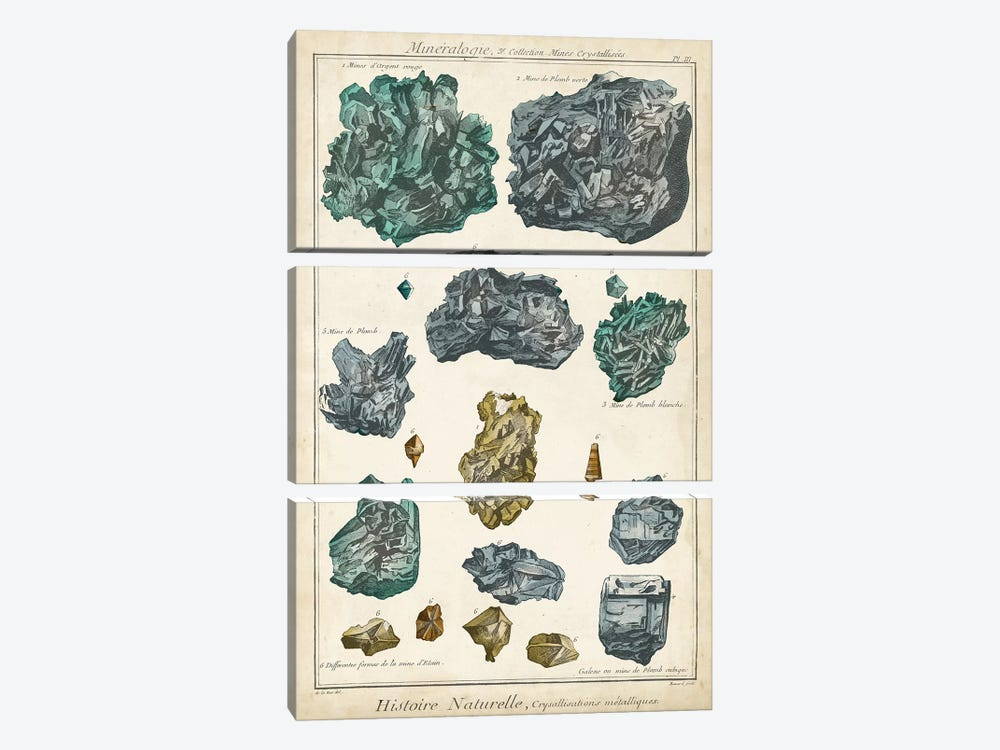 Mineralogie IV by Vision Studio 3-piece Canvas Art Print
