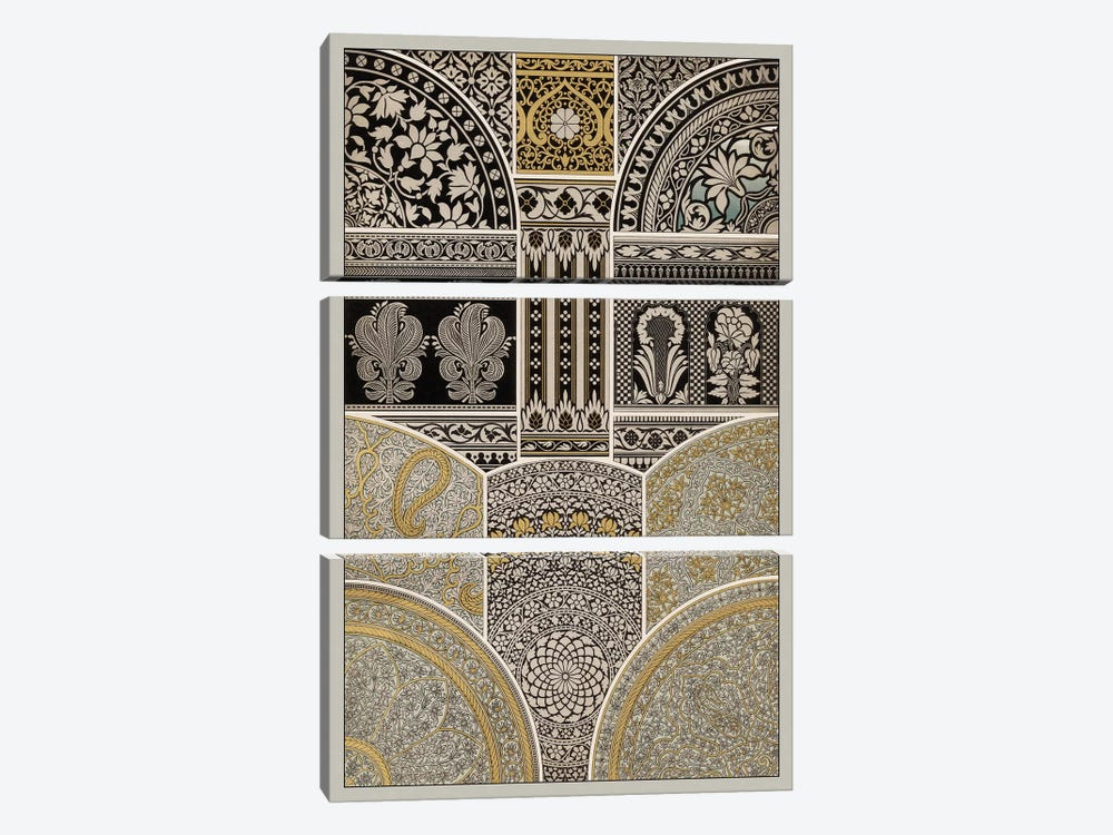 Ornament In Gold & Silver I by Vision Studio 3-piece Canvas Art Print