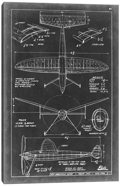 Aeronautic Blueprint III Canvas Art Print