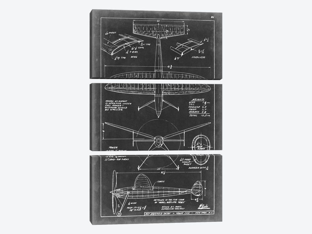 Aeronautic Blueprint III by Vision Studio 3-piece Canvas Art Print