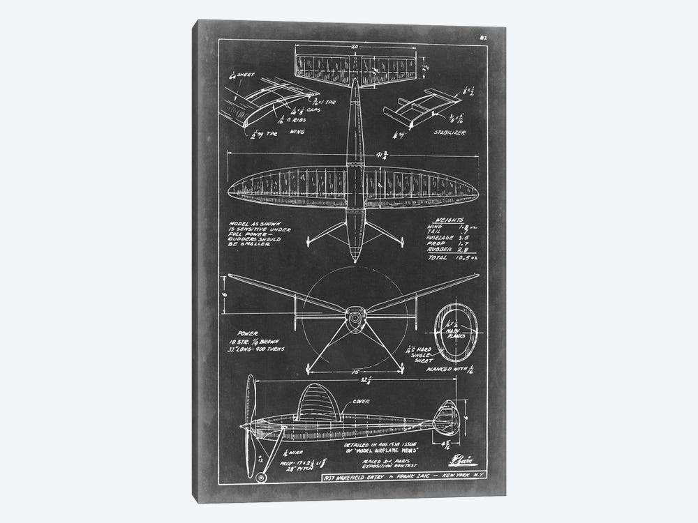 Aeronautic Blueprint III by Vision Studio 1-piece Canvas Print