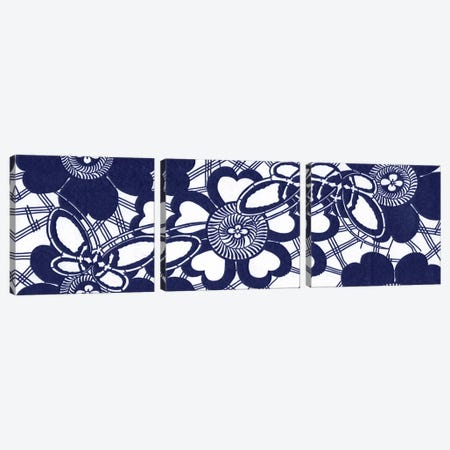 Indigo Floral Katagami Triptych Canvas Print Set #VSN3HSET001} by Vision Studio Canvas Wall Art