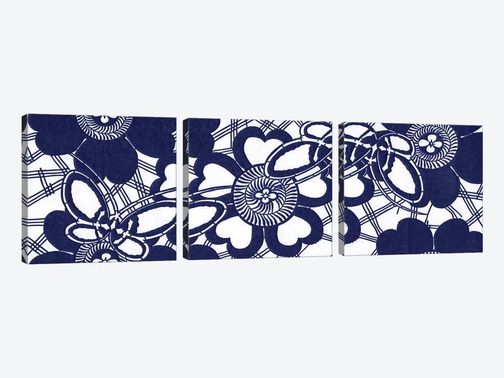 Indigo Floral Katagami Triptych by Vision Studio 3-piece Canvas Art