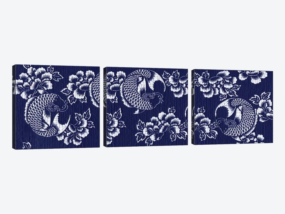 Indigo Carp Katagami Triptych by Vision Studio 3-piece Canvas Art Print