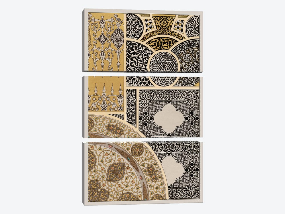 Ornament In Gold & Silver III 3-piece Canvas Art