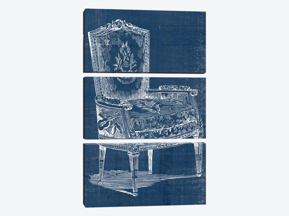 Antique Chair Blueprint I by Vision Studio 3-piece Canvas Wall Art