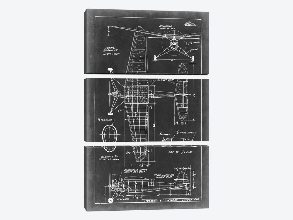 Aeronautic Blueprint IV by Vision Studio 3-piece Canvas Wall Art