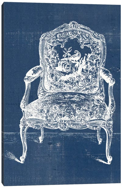 Antique Chair Blueprint V Canvas Art Print