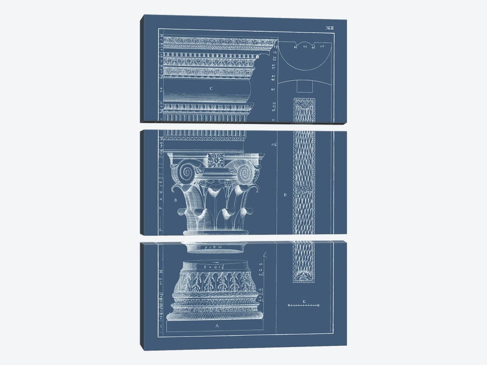 Column & Cornice Blueprint I by Vision Studio 3-piece Canvas Art Print