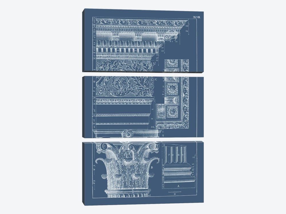 Column & Cornice Blueprint II by Vision Studio 3-piece Canvas Wall Art